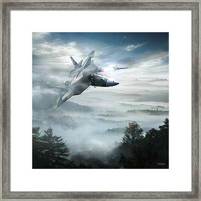 Pak Fa Aka T-50 - Russian Fifth-generation Fighter Jet Framed Print by Anton Egorov