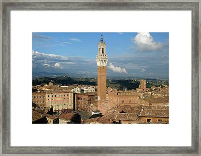 Palazzo Pubblico And Campo Siena Framed Print by Mathew Lodge