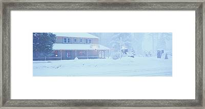 Pale Hotel In Winter Snowstorm, Lake Framed Print by Panoramic Images