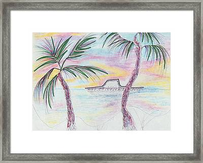 Palm Trees And Boat Framed Print by Suzanne  Marie Leclair