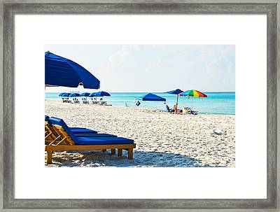 Panama City Beach Florida With Beach Chairs And Umbrellas Framed Print by Vizual Studio
