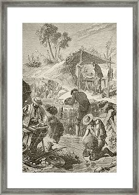 Panning For Gold. From The Book Chips Framed Print by Vintage Design Pics
