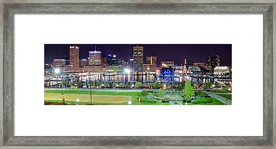 Pano Of Downtown Baltimore Framed Print by Frozen in Time Fine Art Photography