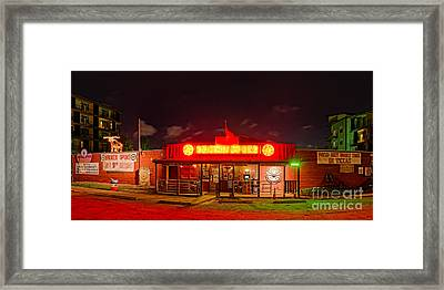 Panorama Of Broken Spoke Honky Tonk And Dance Hall - South Lamar Blvd Austin Texas Framed Print by Silvio Ligutti