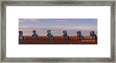 Panorama Of Cadillac Ranch In The Early Morning - Amarillo Texas Panhandle Framed Print by Silvio Ligutti
