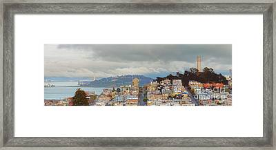 Panorama Of Coit Tower - Yerbabuena Island And Bay Area - San Francisco California Framed Print by Silvio Ligutti