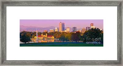 Panorama Of Denver Skyline From Museum Of Nature And Science - City Park Denver Colorado Framed Print by Silvio Ligutti