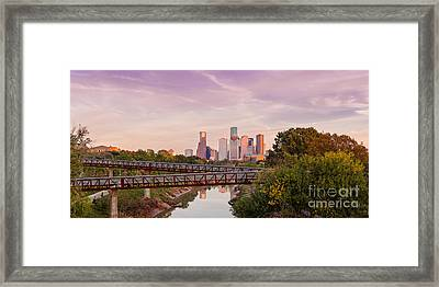 Panorama Of Downtown Houston Skyline From Studemont Drive - Buffalo Bayou Park Houston Texas Framed Print by Silvio Ligutti
