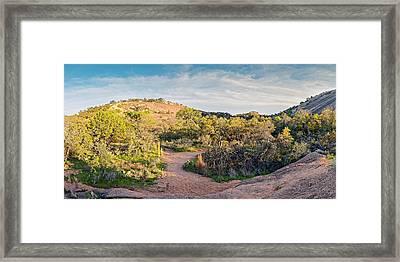 Panorama Of Enchanted Rock State Natural Area Freshman Mountain Turkey Peak - Texas Hill Country Framed Print by Silvio Ligutti