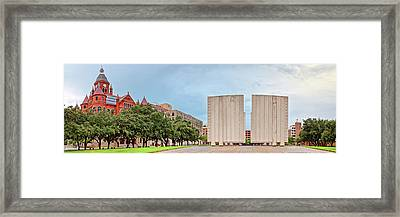 Panorama Of Old Red Museum And Jfk Memorial In Downtown Dallas - West End Historic District - Texas Framed Print by Silvio Ligutti