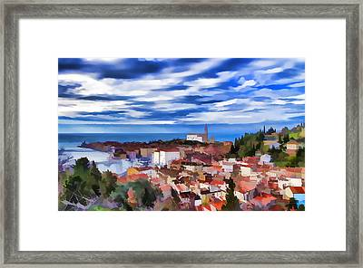 Panorama Of Piran  Framed Print by Lanjee Chee