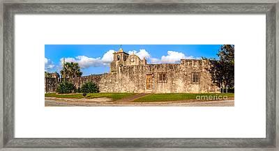 Panorama Of Presidio La Bahia Museum And Loreto Chapel In Goliad - Texas Coastal Bend Framed Print by Silvio Ligutti