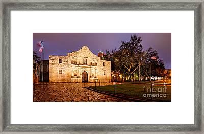 Panorama Of The Alamo In San Antonio At Dawn - San Antonio Texas Framed Print by Silvio Ligutti