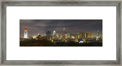 Panorama Of The Austin Skyline On A September Morning Framed Print by Rob Greebon