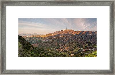 Panorama Of The Hollywood Hills And Sign - Los Angeles California Framed Print by Silvio Ligutti