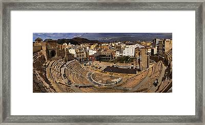 Panorama Of The Roman Forum In Cartagena Spain Framed Print by David Smith