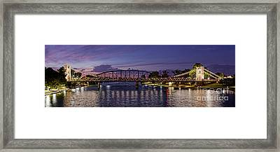 Panorama Of Waco Suspension Bridge Over The Brazos River At Twilight - Waco Central Texas Framed Print by Silvio Ligutti