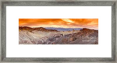 Panorama Of Zabriskie Point Manly Beacon In Death Valley National Park - Inyo County California Framed Print by Silvio Ligutti