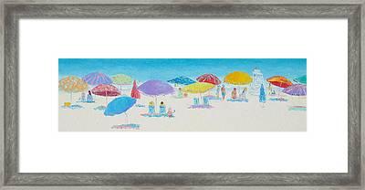 Panorama Painting Of Main Beach East Hampton Framed Print by Jan Matson