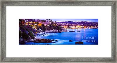 Panorama Picture Of Laguna Beach City At Night Framed Print by Paul Velgos