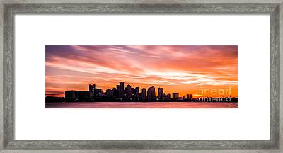 Panoramic Boston Skyline Sunset Photo Framed Print by Paul Velgos