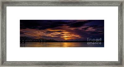 Panoramic Sunset At Natchez Framed Print by T Lowry Wilson
