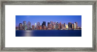 Panoramic Sunset View Of Empire State Framed Print by Panoramic Images