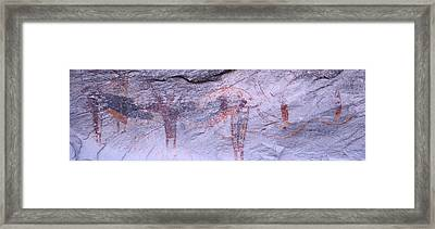 Panoramic View Of Petroglyphs Of Stick Framed Print by Panoramic Images