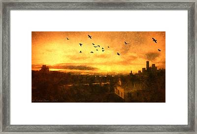 Panoramic View Of Seattle From The Balcony Framed Print by Victoria Porter