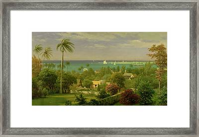 Panoramic View Of The Harbour At Nassau In The Bahamas Framed Print by Albert Bierstadt