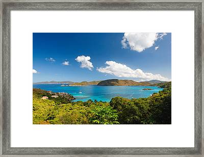 Panoramic View Of Trunk Bay Framed Print by George Oze