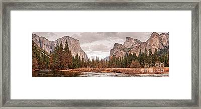Panoramic View Of Yosemite Valley From Bridal Veils Falls Viewing Point - Sierra Nevada California Framed Print by Silvio Ligutti