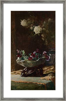 Pansies And Spirea Framed Print by Mountain Dreams