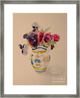 Pansies In A Quimper Pot Framed Print by Beatrice Cloake