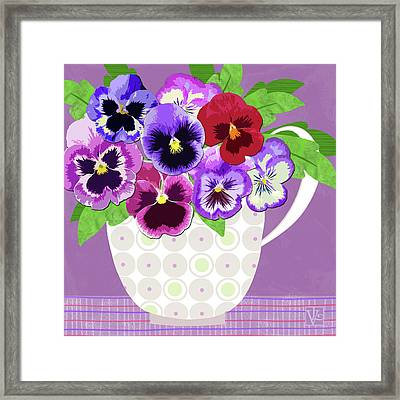 Pansies Stand For Thoughts Framed Print by Valerie Drake Lesiak