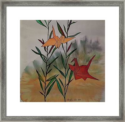 Paper Cranes 1 Framed Print by Carolyn Doe