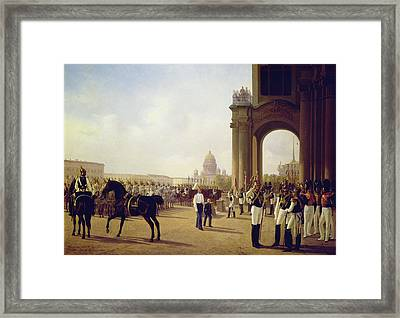 Parade At The Palace Square In Saint Petersburg Framed Print by Adolphe Ladurner