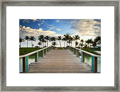 Paradise Beach Tropical Palm Trees Islands Summer Vacation Framed Print by Dave Allen