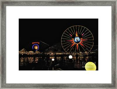 Paradise Pier And Mickey's Fun Wheel Framed Print by Peter Dang