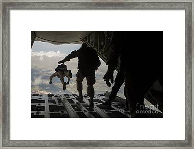 Paratroopers Jump Out Of A Kc-130j Framed Print by Stocktrek Images