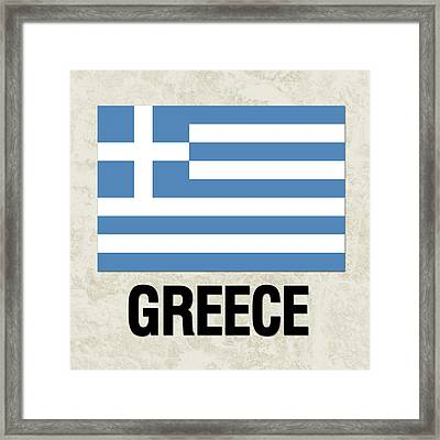 Parchment Flag Greece Framed Print by Elaine Plesser