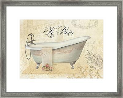 Parchment Paris - Le Bain Vintage Bathroom Framed Print by Audrey Jeanne Roberts
