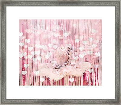 Paris Ballerina Tutu Dress Pink Hearts  - Paris Ballet Tutu Baby Girl Nursery Decor  Framed Print by Kathy Fornal