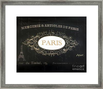Paris Black And White Gold Typography - French Script Paris Decor Framed Print by Kathy Fornal