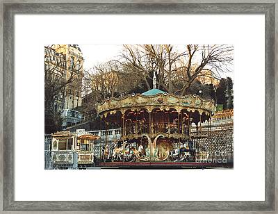 Paris Carousel At Montmartre - Sacre Coeur Cathedral Carousel Merry Go Round  Framed Print by Kathy Fornal