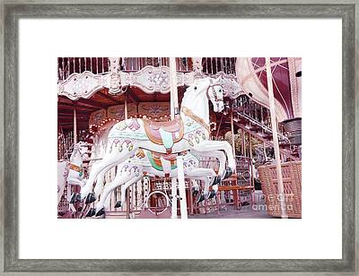 Paris Carousel Horses - Shabby Chic Paris Carousel Horse Merry Go Round Framed Print by Kathy Fornal