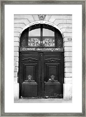 Paris Doors - Black And White French Door - Paris Black And White Doors Decor Framed Print by Kathy Fornal