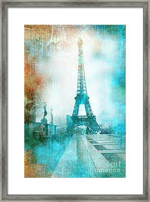 Paris Eiffel Tower Aqua Impressionistic Abstract Framed Print by Kathy Fornal