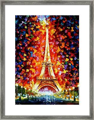 Paris - Eiffel Tower Lighted Framed Print by Leonid Afremov