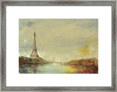 Paris Eiffel Tower Painting Framed Print by Juan  Bosco